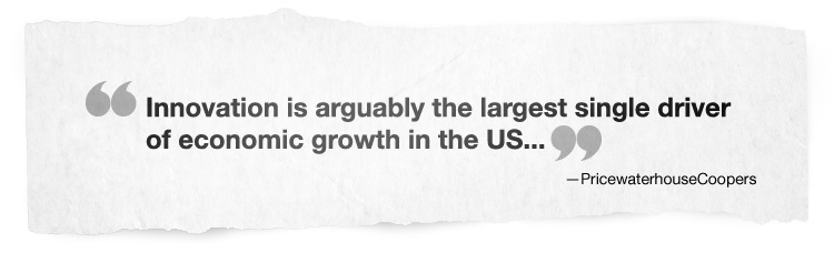 Innovation is arguably the largest single driver of economic growth in the US…